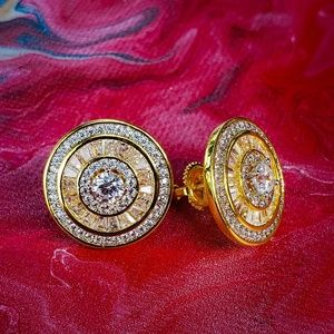 🔥 14k GP Iced Out Round micro & Baguette Earrings